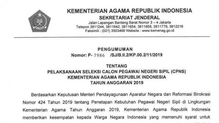 CPNS 2019 - Jadwal Pengumuman Hasil Seleksi Kementerian Agama, Cek Kemenag.go.id dan Sscn.bkn.go.id
