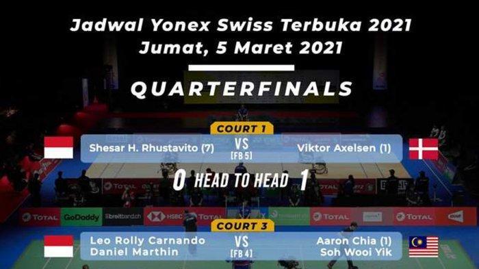 Jadwal Swiss Open 2021 Hari Ini, Shesar Hiren Rhustavito vs Viktor Axelsen, Leo/Daniel vs Aaron/Soh