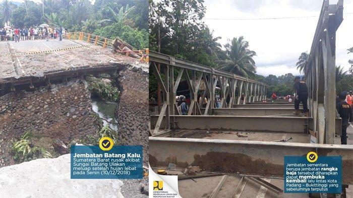 Kondisi Terkini Paska-Jembatan Ambruk, Pakai Jembatan Darurat Jalur Padang-Bukittinggi Bisa Dilalui