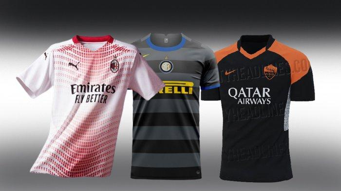 UPDATE Jersey Klub Liga Italia 2020/2021, AC Milan Kenalkan Jersey Away, Roma & Inter Jersey Ketiga