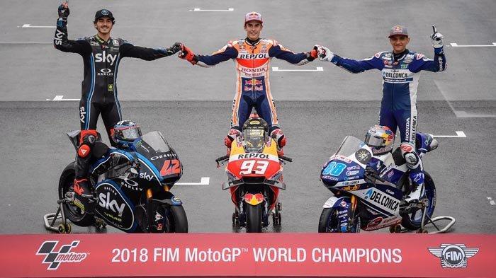 Klasemen Akhir MotoGP 2018 dan Juara Dunia MotoGP, Moto2, Moto3. Valentino Rossi Tak Pernah Juara