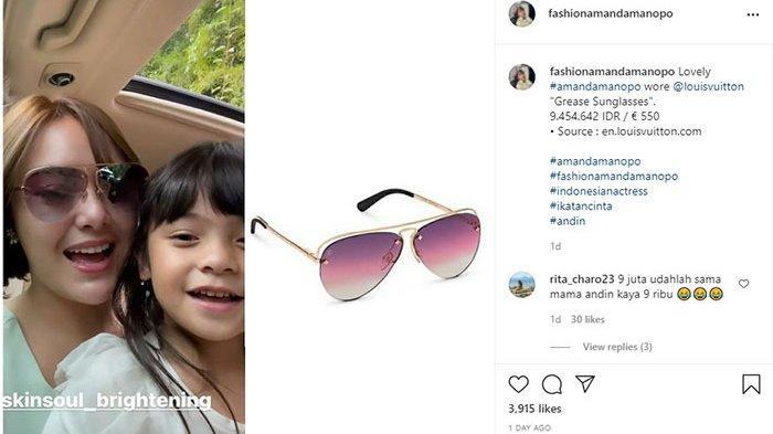 Kacamata yang dikenakan Amanda Manopo saat dapat hadiah mobil dari Aldebaran.