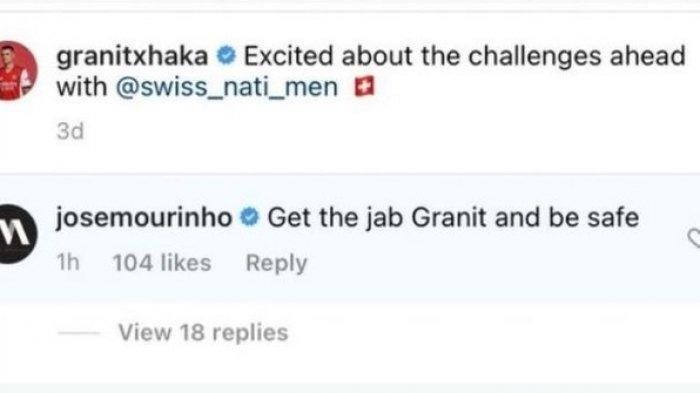 Komentar Jose Mourinho di unggahan Instagram Granit Xhaka