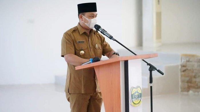 Bupati Lingga Muhammad Nizar saat menyambut kunjungan Kepala Kanwil Kemenkumham Kepri, Senin (12/4/2021).