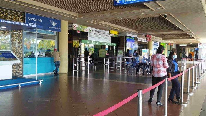 BANDARA HANG NADIM - Kondisi Bandara Hang Nadim Batam saat hari pertama penerapan larangan mudik, Kamis (6/5/2021).