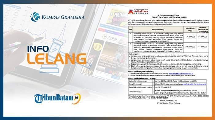 Info Lelang BPR Artha Prima Perkasa Batam