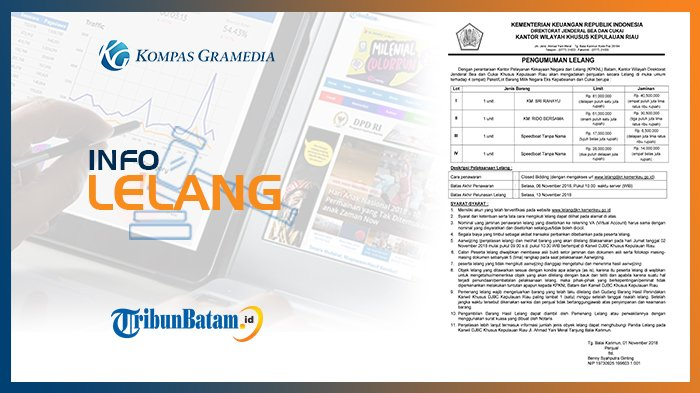 Informasi Pengumuman Lelang DJBC Kanwil Khusus Kepulauan Riau 1 November 2018