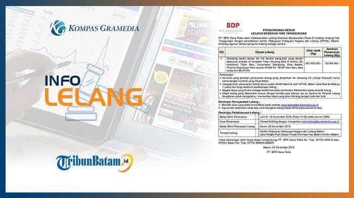 Informasi Pengumuman Lelang PT. BPR Dana Putra 2 November 2018