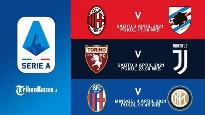 10 Laga Liga Italia Pekan 29 Sabtu (1/4) AC Milan vs Sampdoria, Torino vs Juventus, Bologna vs Inter