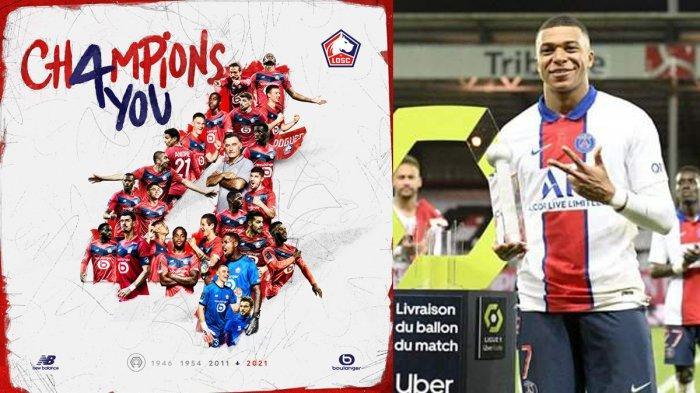 Hasil, Klasemen, Top Skor Liga Prancis 2020-2021, Lille Juara, Top Skor Kyalian Mbappe 27 Gol