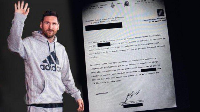 BOCOR, Inikah Isi Surat Lionel Messi ke Barcelona yang Minta Kontrak di Barcelona Dihentikan