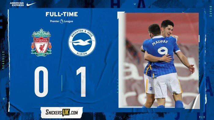 Hasil Liga Inggris Liverpool vs Brighton, Gol Steven Alzate Menangkan Brighton, Liverpool Kalah