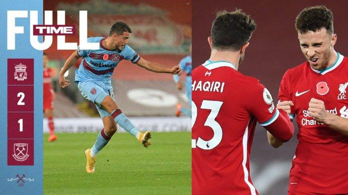 Hasil Liga Inggris Liverpool vs West Ham, Mohamed Salah & Diogo Jota Cetak Gol, Liverpool Menang