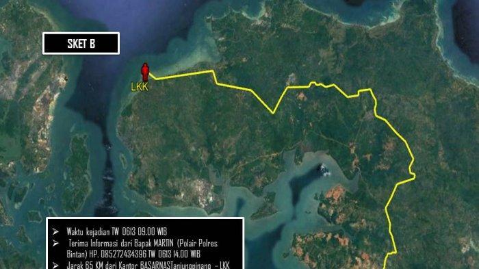 Lokasi titik pencarian Tim Sar Gabungan dalam mencari Heru (22) pemancing yang hilang di sekitar Pantai Sakera Tanjunguban, Bintan, Minggu (13/6/2021).