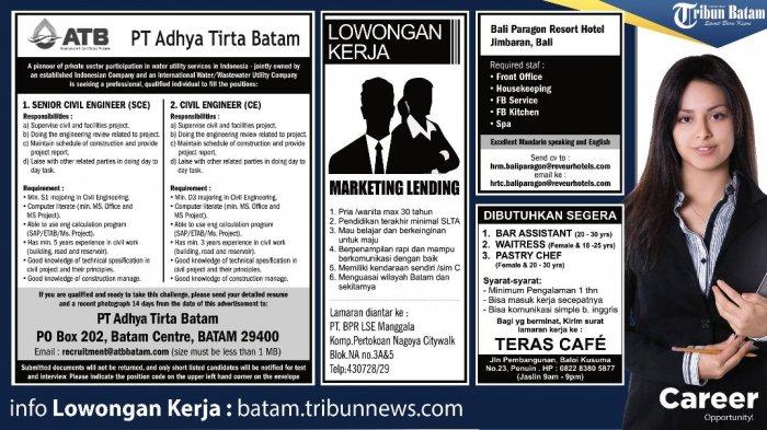 LOKER BATAM Hari Ini - 4 Info Loker Mulai dari Senior Civil Engineer hingga Staf Hotel di Bali