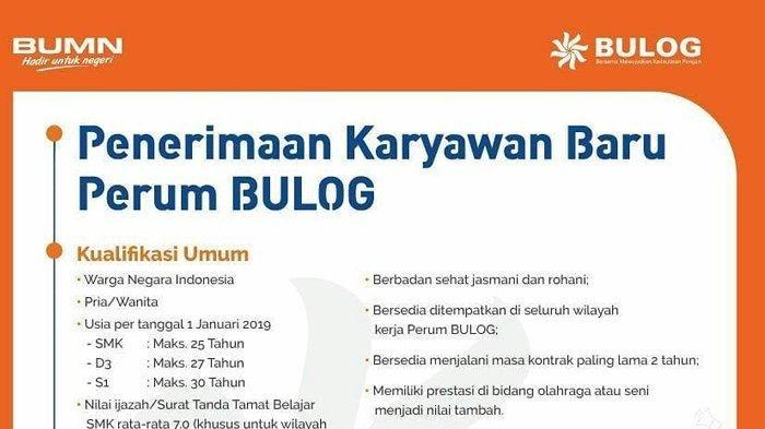LOWONGAN BUMN 2019 - Bulog Buka Lowongan Kerja, Pendaftaran Hingga 13 Januari. Cek Syaratnya Disini
