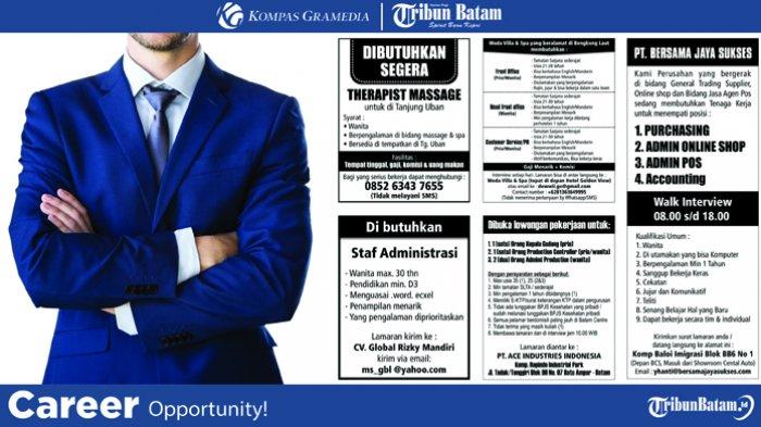 Ada 5 Lowongan Kerja Untuk Penempatan Di Batam Dan Tanjunguban Yuk Cek Posisi Yang Dibutuhkan Tribun Batam