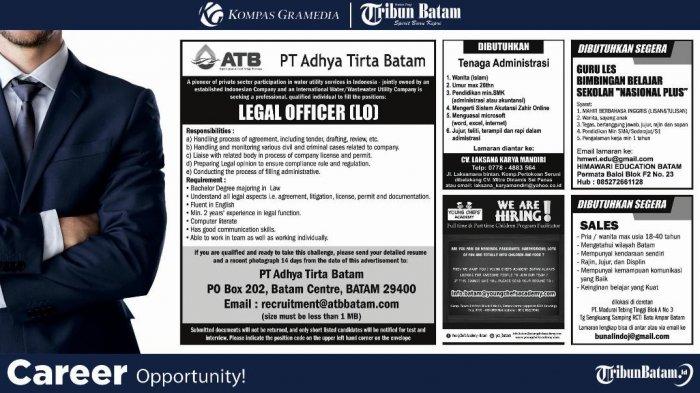 LOKER BATAM HARI INI -  5 Info Lowongan Kerja, Salah satunya ATB Butuh Legal Officer