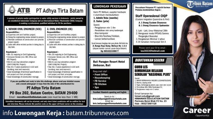 LOKER BATAM HARI INI - Ada 5 Info Loker, Salah Satunya ATB Butuh Senior Civil Engineer