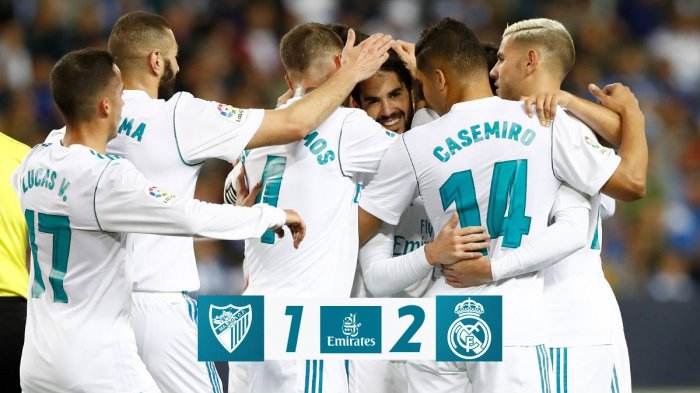 Malaga vs Real Madrid - Gol Isco dan Casimero Menangkan Madrid. Geser Valencia di Klasemen