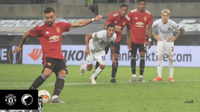 Gol dari eksekusi penalti Bruno Fernandes membawa Man United lolos ke semifinal Liga Europa 2019/2020