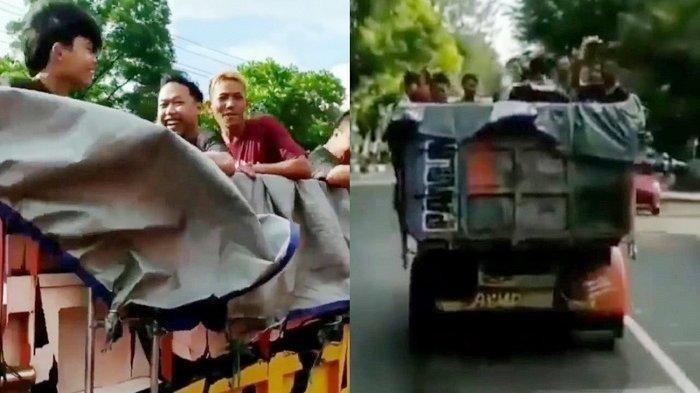 Gerombolan ABG Viral Mandi Bareng di Jalan Raya, Ketawa Ketiwi di Bak Truk Berujung di Kantor Polisi