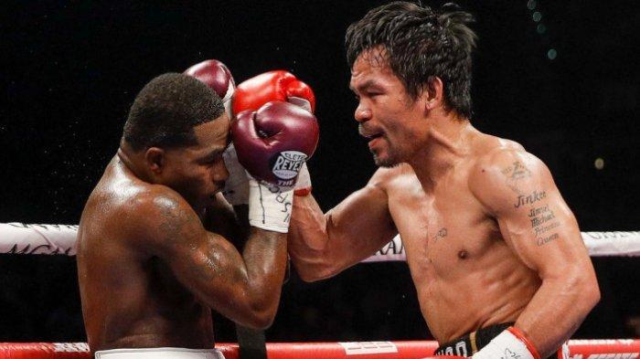 Pertarungan antara Manny Pacquiao dan Adrien Broner yang berlangsung di MGM Grand, Las Vegas, AS, Minggu (20/1/2019) WIB
