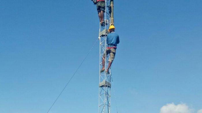 Pembangunan mini BTS di Dusun Etang, RT. 003/RW. 02 Desa Air Putih, Kecamatan Siantan Timur