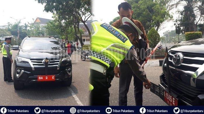 VIRAL, Mobil Dinas Wakil Bupati Ditilang Polisi, Pakai Plat Lapis 3, Satu Plat Ketahuan Mati Pajak