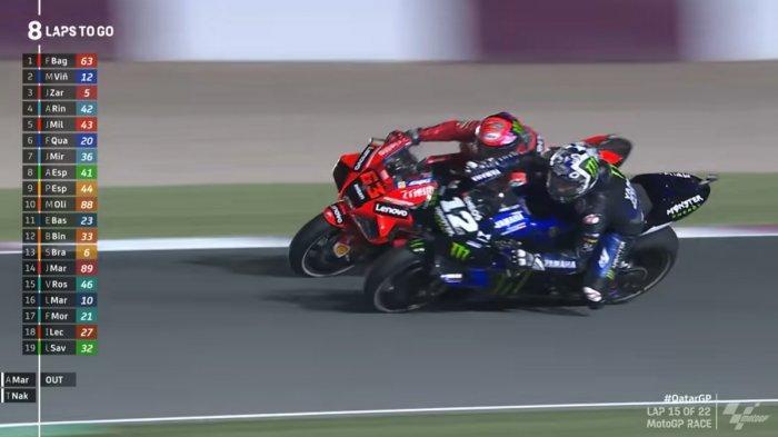 Momen saat Maverick Vinales melewat Francesco Bagnaia di MotoGP Qatar 2021, Minggu (28/3/2021)
