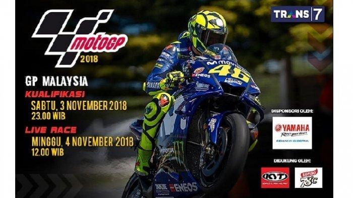 Ini Jadwal dan Link Live Streaming MotoGP Malaysia 2018 via Live Streaming Trans 7
