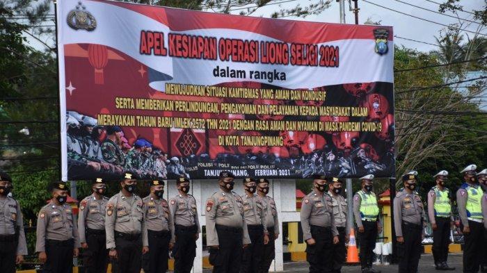 Apel Gelar Pasukan Operasi Liong Seligi 2021 di Polres Tanjungpinang, Rabu (10/2/2021).