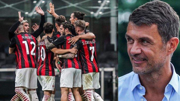 BELUM TARGET JUARA - Paolo Maldini (kanan) dan skuad AC Milan yang tampil tanpa kalah dalam 12 laga terakhir, meski begitu Rossoneri belum targetkan juara musim ini