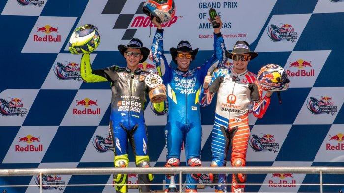 HASIL MOTOGP AMERICAS - Marquez Jatuh, Alex Rins Juara, Valentino Rossi Podium 2 di GP Americas