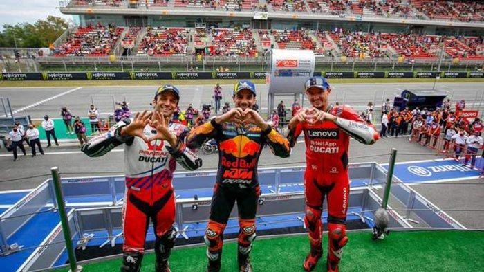 Hasil MotoGP Catalunya 2021 - Pebalap Red Bull KTM Miguel Oliveira tampil sebagai juara MOtoGP Catalunya 2021, disusul Johann Zarco dan Jack Miller di podium 2 dan 3, Minggu (6/6/2021)