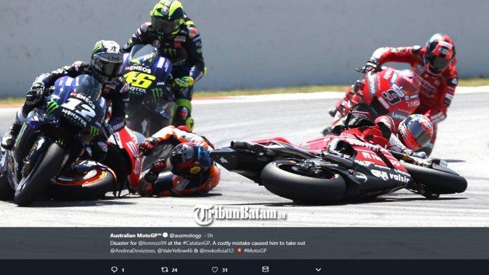 Jatuh Tersenggol Jorge Lorenzo di Tikungan 10 MotoGP Catalunya, Ini Reaksi Valentino Rossi