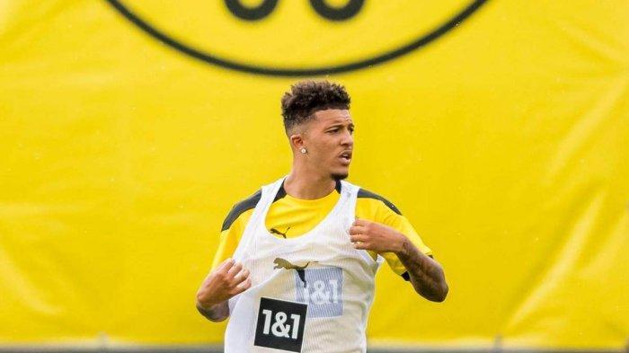 Pemain Borussia Dortmund asal Inggris, Jadon Sancho saat pemusatan latihan di Bad Ragaz, Swiss