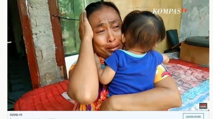 Yuli menangis tersedu-sedu saat membagikan cerita keluarganya yang kelaparan karena terdampak pandemi Virus Corona. Ilustrasi