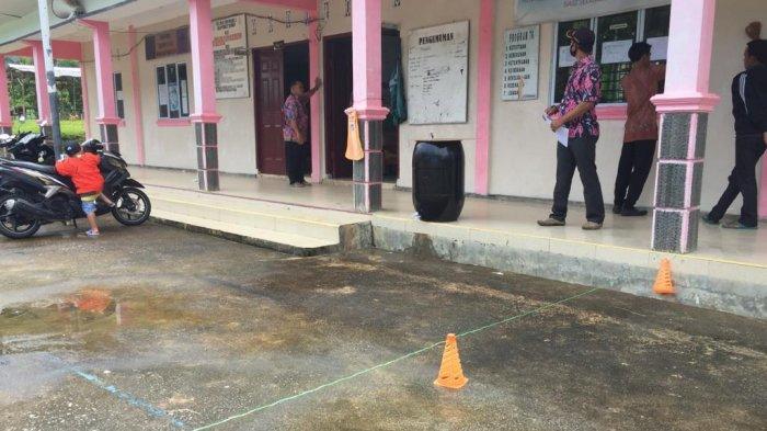 SMPN 5 Batu Tambun, Kabupaten Kepulauan Anambas, Provinsi Kepri, Kamis (9/7/2020). Penerapan protokol kesehatan seperti kebiasaan rajin mencuci tangan terkendala ketersediaan air bersih.