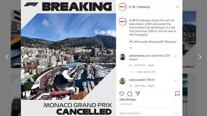 RESMI, F1 GP Monaco Dibatalkan, GP Belanda dan GP Spanyol Ditunda