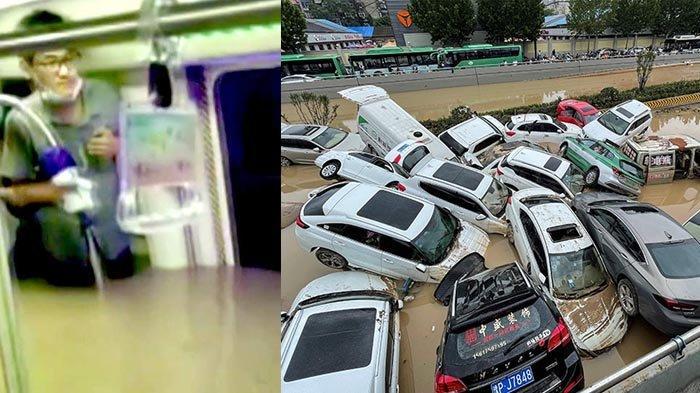 Banjir di China, Seret Ratusan Mobil, Beredar Foto Penumpang Terjebak dalam Kereta