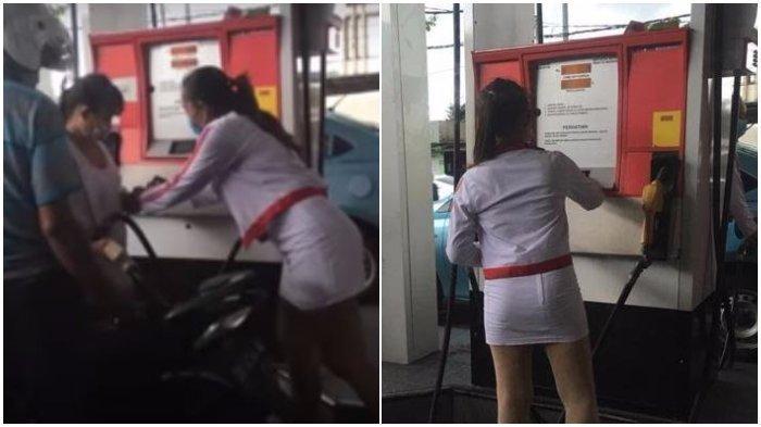 Heboh! Pom Bensin Ini Dilayani Wanita Cantik Pakai Rok Mini, Digoda Begini Reaksi Mereka!
