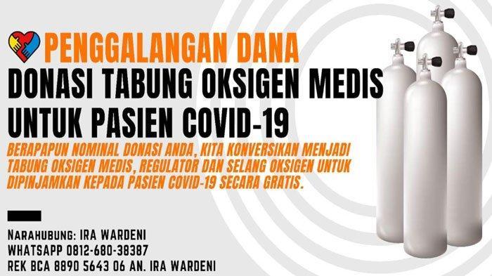 Poster Penggalangan Dana Tabung Oksigen yang digagas warga Tanjungpinang, Dedy Saputra dan Ira Wardeni.