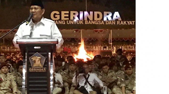 ketua Umum Partai Gerindra Prabowo Subianto dalam Rapimnas Partai Gerindra di Hambalang, Bogor, Jawa Barat, beberapa waktu lalu