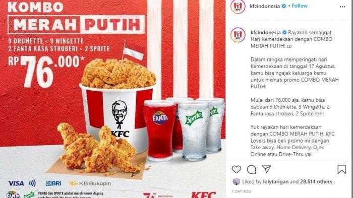 Promo KFC sampai 18 Agustus 2021