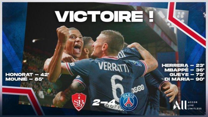Hasil Liga Prancis - Tanpa Lionel Messi dan Neymar, PSG Pesta Gol ke Gawang Stade Brestois 29