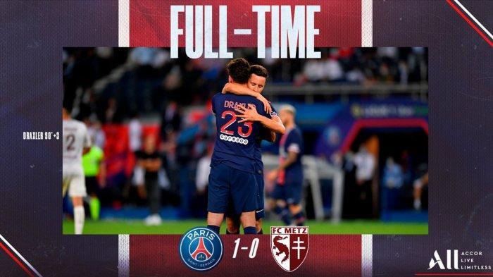 Hasil PSG vs Metz - PSG Susah Payah Kalahkan Metz dengan 9 Pemain, Draxler Cetak Gol di Ujung Laga