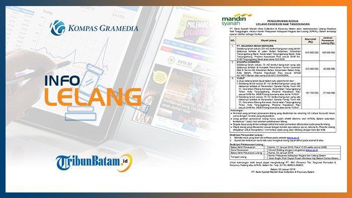 Informasi Pengumuman Lelang PT Bank Syariah Mandiri Area Collection & Recovery Batam 3 Januari 2019