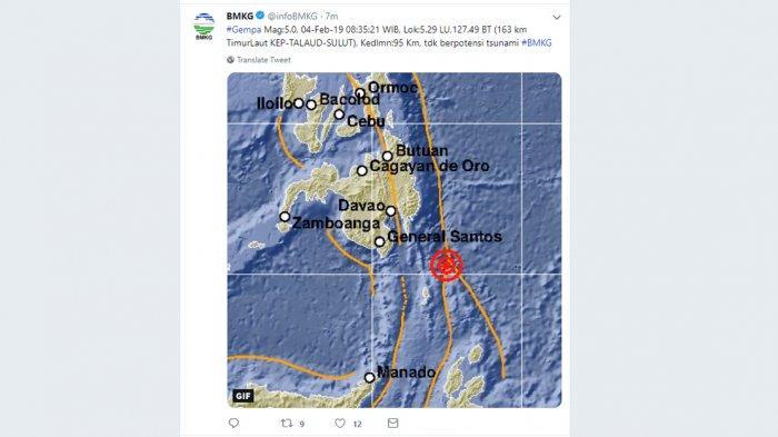 GEMPA HARI INI, Talaud Diguncang Gempa 5.0 WIB Senin Pagi Jam 08.35 WIB. Berikut Info BMKG