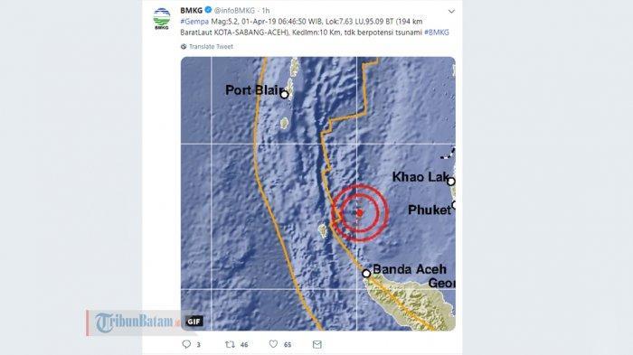 GEMPA HARI INI - Gempa 5.2 SR Guncang Sabang Aceh Senin Pagi Jam 06.46 WIB, Berikut Info BMKG